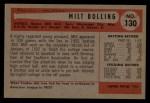 1954 #130  Milt Bolling  Back Thumbnail