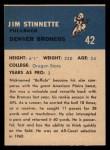 1962 Fleer #42   Jim Stinnette Back Thumbnail