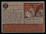 1962 Topps #337  Jim Marshall  Back Thumbnail