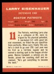 1963 Fleer #11   Larry Eisenhauer Back Thumbnail