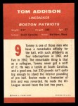 1963 Fleer #9   Tom Addison Back Thumbnail