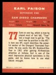 1963 Fleer #77   Earl Faison Back Thumbnail