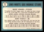 1965 Topps #41   White Sox Rookie Stars  -  Bruce Howard / Marv Staehle Back Thumbnail