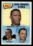 1965 Topps #537  Angels Rookies  -  Mercelino Lopez / Rudy May / Phil Roof Front Thumbnail