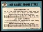 1965 Topps #497  Giants Rookies  -  Ken Henderson / Jack Hiatt Back Thumbnail