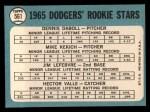 1965 Topps #561   Dodgers Rookie Stars  -  Mike Kekich / Jim LeFebvre / Hector Valle / Dennis Daboll Back Thumbnail