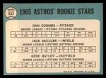 1965 Topps #553  Astros Rookies  -  Jack McClure / Dan Coombs / Gene Ratliff Back Thumbnail