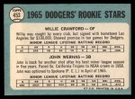 1965 Topps #453   Dodgers Rookie Stars  -  Willie Crawford / John Werhas Back Thumbnail