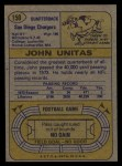 1974 Topps #150  Johnny Unitas  Back Thumbnail