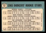 1965 Topps #561  Dodgers Rookies  -  Mike Kekich / Jim LeFebvre / Hector Valle / Dennis Daboll Back Thumbnail