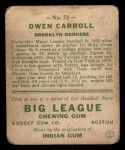 1933 Goudey #72   Owen Carroll Back Thumbnail