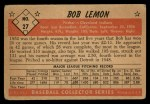 1953 Bowman Black and White #27   Bob Lemon Back Thumbnail