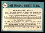 1965 Topps #501  Indians Rookies  -  Jim Rittwage / Ralph Gagliano Back Thumbnail