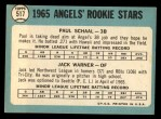 1965 Topps #517   Angels Rookie Stars  -  Paul Schaal / Jack Warner Back Thumbnail