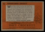 1956 Topps Davy Crockett #43 ORG Congressman Crockett   Back Thumbnail