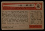 1954 Bowman #53 OF Don Lenhardt  Back Thumbnail