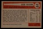 1954 Bowman #43 A  Bob Friend Back Thumbnail