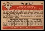 1953 Bowman #2   Vic Wertz Back Thumbnail