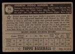 1952 Topps #74 BLK  Andy Hansen Back Thumbnail