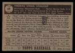 1952 Topps #69 BLK Virgil Stallcup  Back Thumbnail