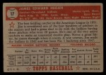1952 Topps #17 RED Jim Hegan  Back Thumbnail