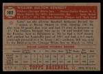 1952 Topps #102   Bill Kennedy Back Thumbnail