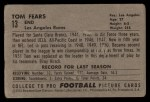 1952 Bowman Large #13  Tom Fears  Back Thumbnail