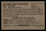 1952 Bowman Large #113  Bill Reichardt  Back Thumbnail
