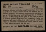 1952 Bowman Large #117  Pat O'Donahue  Back Thumbnail