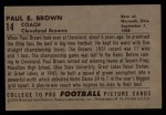 1952 Bowman Large #14  Paul Brown  Back Thumbnail