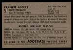 1952 Bowman Large #5  Frankie Albert  Back Thumbnail