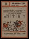 1962 Topps #20  Angelo Coia  Back Thumbnail