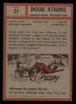 1962 Topps #21   Doug Atkins Back Thumbnail