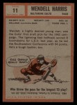 1962 Topps #11  Wendell Harris  Back Thumbnail