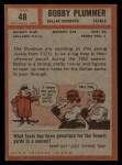 1962 Topps #48  Bobby Plummer  Back Thumbnail