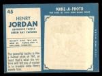 1961 Topps #45   Henry Jordan Back Thumbnail
