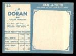1961 Topps #23   Jim Doran Back Thumbnail