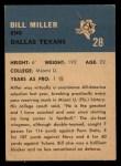 1962 Fleer #28  Bill Miller  Back Thumbnail