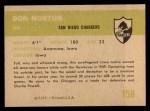 1961 Fleer #158   Don Norton Back Thumbnail