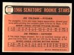 1966 Topps #333  Senators Rookies  -  Joe Coleman / Jim French Back Thumbnail