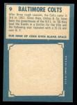 1961 Topps #9  Colts Team  Back Thumbnail
