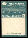 1960 Topps #75   Alex Webster Back Thumbnail
