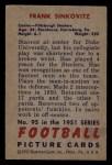 1951 Bowman #95   Frank Sinkovitz Back Thumbnail
