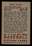 1951 Bowman #71  Jerry Priddy  Back Thumbnail