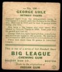 1933 Goudey #100   George Uhle Back Thumbnail