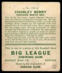 1933 Goudey #184   Charley Berry Back Thumbnail