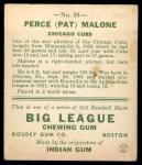 1933 Goudey #55   Pat Malone Back Thumbnail