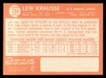 1964 Topps #334   Lew Krausse Back Thumbnail