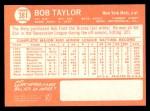 1964 Topps #381   Bob Taylor Back Thumbnail