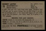 1952 Bowman Large #78  Bobby Layne  Back Thumbnail